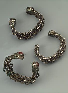 Plaited Bracelets  Silver and cornelian; width 8.6, 8.9, 8.4 cm  Bulgarian Culture. 11th - 12th century	 Treasure of 1868, Tatarstan, formerly Kazan Province, Spassky District, the Town of Bolgary  Russia  Source of Entry:   by order of the Imperial Court Ministry. 1869
