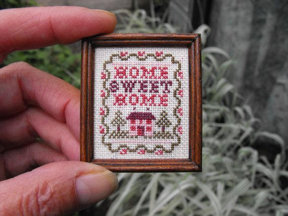 home+sweet+home+cross+stitch | Items similar to Miniature Home Sweet Home Cross stitch Sampler on 32 ...