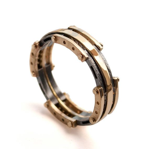 Lovely Gold Wedding Band Men us K Gold and Oxidized Silver Wedding band steampunk Wedding