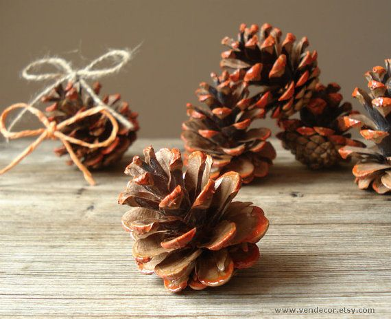 Hand Painted Pine Cones- Set of 6, Orange Painted Pinecones, Pine Cone Wedding Decor, Fall Winter Wedding Decoration, Rustic Woodland Home