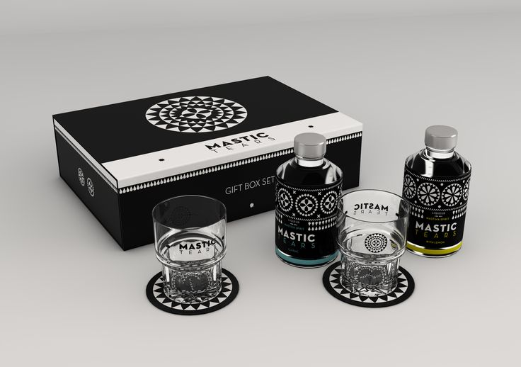 Mastic Tears gift box. Give a special gift to your friends, with the traditional Greek liqueur made of  mastic from Chios! The box contains two bottles of Mastic Tears (Classic and Lemon), two glasses, eight glass mats and a booklet with cocktail recipes.