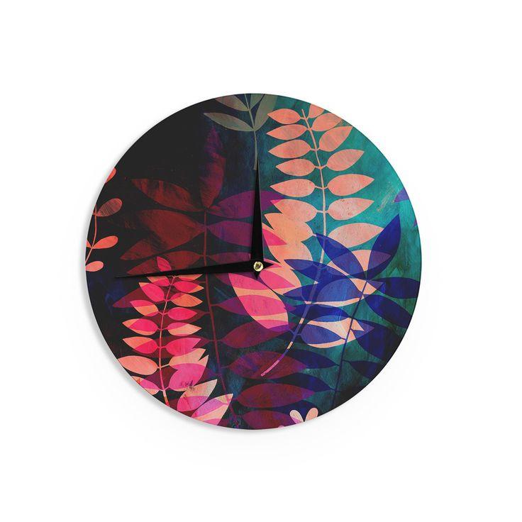 """Jessica Wilde """"Dark Jungle"""" Multicolor Nature Wall Clock"""