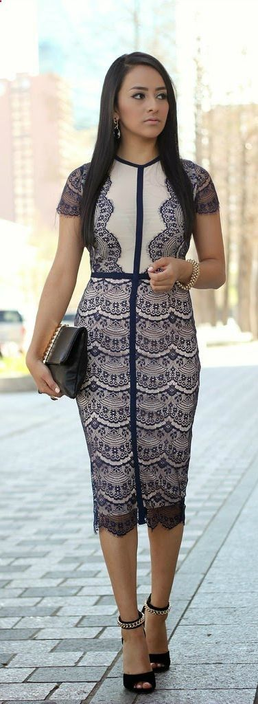 Spring Fashion 2014. This look by A Midi-Moment by MayteDoll is stunning! Scalloped lace, gorgeous! ::M::