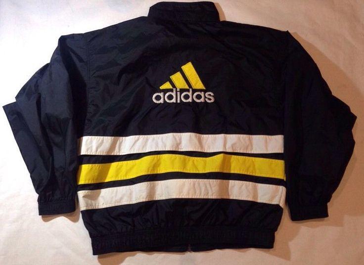 Vtg 90s Adidas Men's Warm Up Track Running Windbreaker Jacket XL Yeezy Boost | eBay