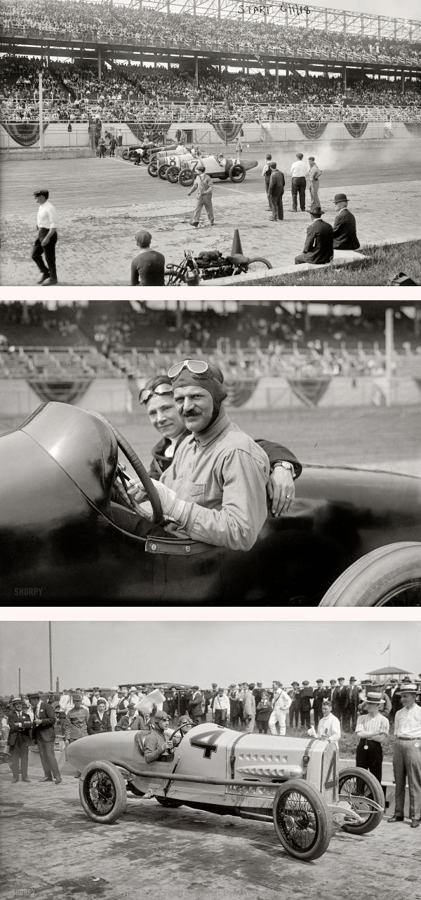 AUTO RACING: June 1, 1918. Six of the eight contestants in the 100-mile Harkness Handicap on Sheepshead Bay Motor Speedway's two-mile wooden oval in Brooklyn, New York. | French driver Louis Chevrolet and mechanic in their Frontenac | Italian race car driver Ralph DePalma and mechanic in the Packard that won the Harkness Handicap