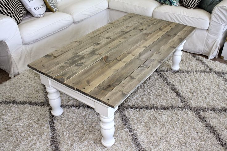 Easy DIY!! Just use an old coffe table and add a new top Nifty Thrifty Momma: Farmhouse Style Coffee Table