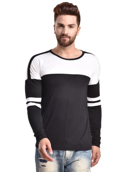 7f7f2882089 Black Solid Cotton Round Neck Slim Fit Full Sleeve Knitted T-Shirt ...