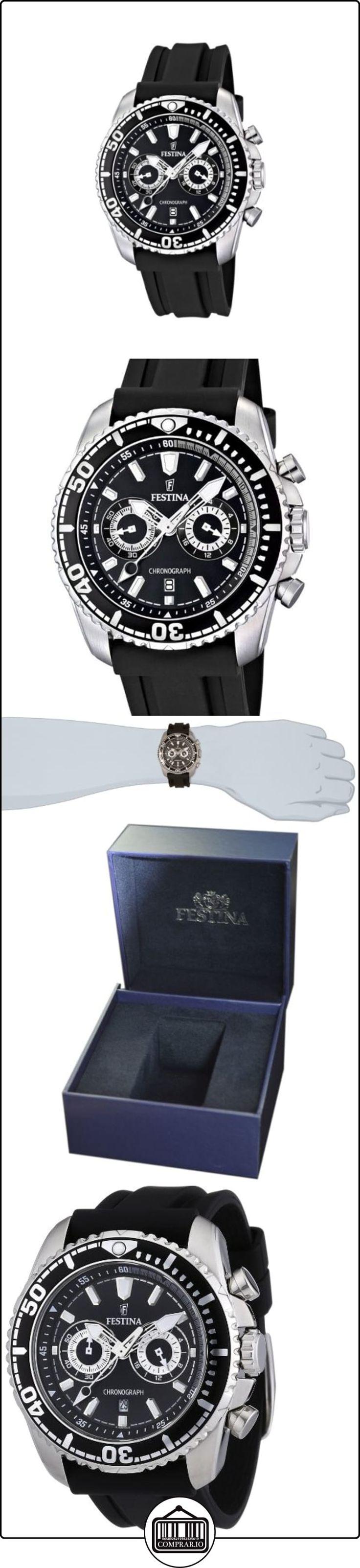 Festina F16574/4 - Reloj cronógrafo de cuarzo para hombre con correa de caucho, color negro  ✿ Relojes para hombre - (Gama media/alta) ✿