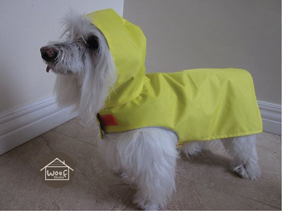 Dog clothing  Vinyl Hooded Raincoat with full lining by WoofStudio, $25.00