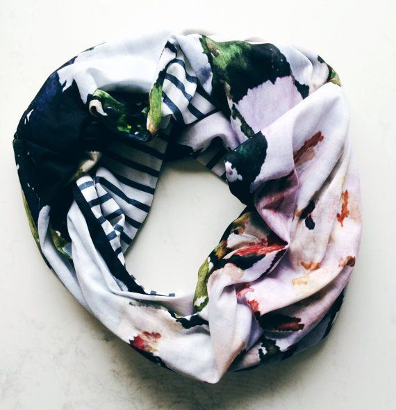 Floral and Stripe Infinity Scarf - Plum Peonies