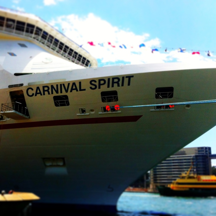 Front of Carnival Spirit docked in Sydney