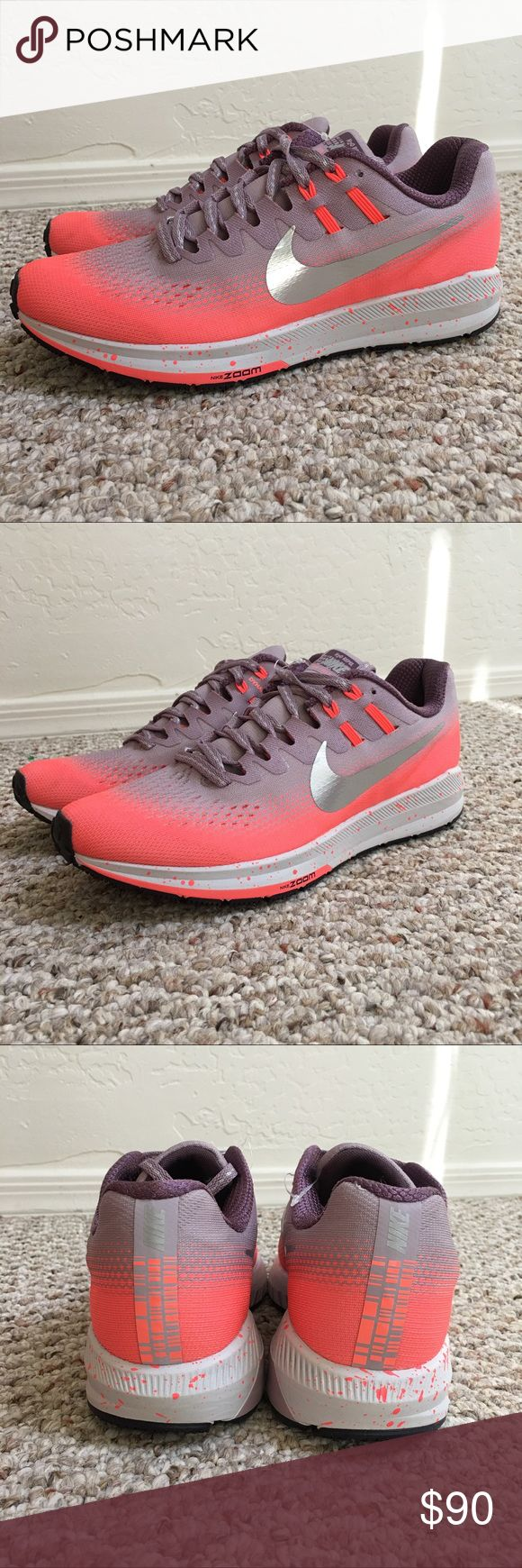 NIKE H20 REPEL ZOOM STRUCTURE RUNNING SHOE BRAND NEW   SHOES ONLY NO BOX  NEVER WORN  WOMENS NIKE H20 REPEL ZOOM STRUCTURE RUNNING SHOE  SIZE 8  COLOR MANGO PURPLE   SMOKE AND PET FREE HOME Nike Shoes Athletic Shoes