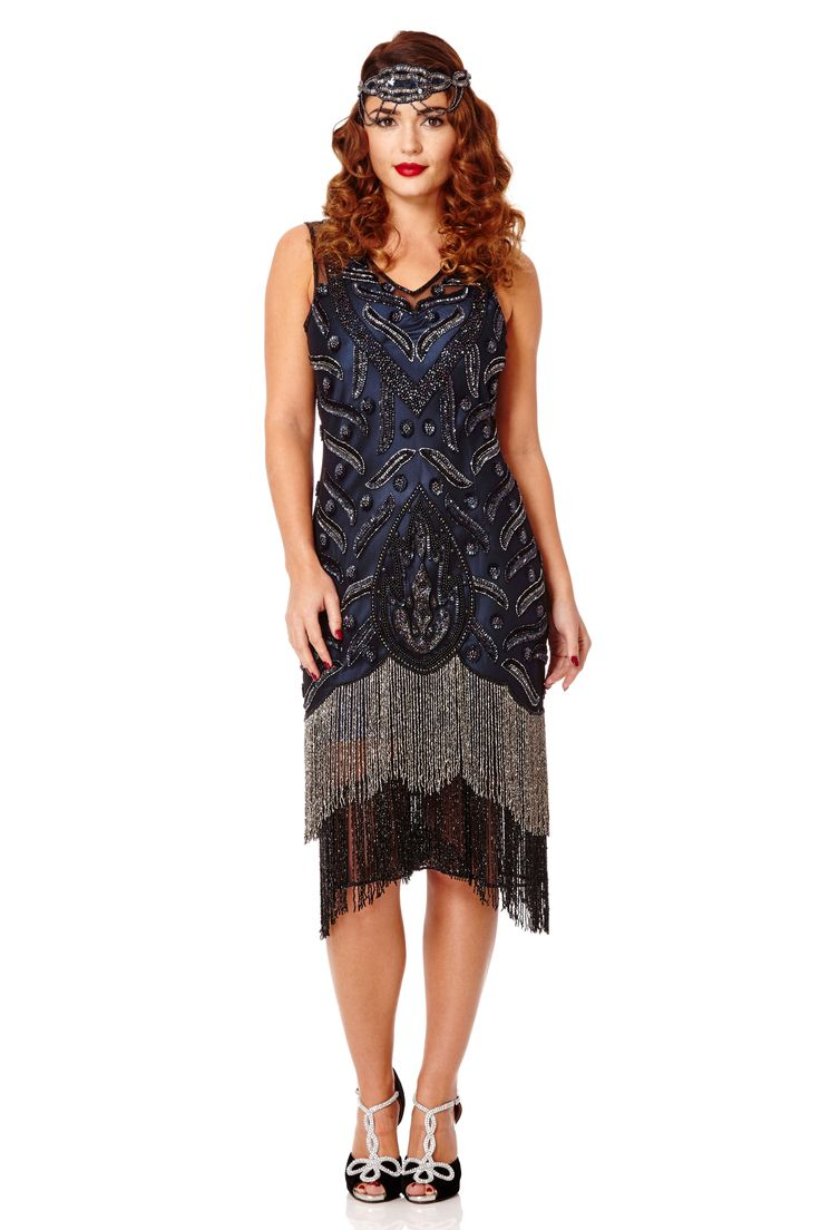 144 best 1920s vintage inspired hand embellished flapper dresses hollywood black navy flapper dress slip included by gatsbylady ombrellifo Images