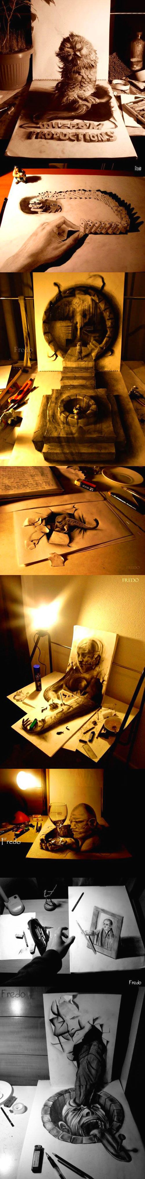 Mind-blowing 3D pencil drawings.