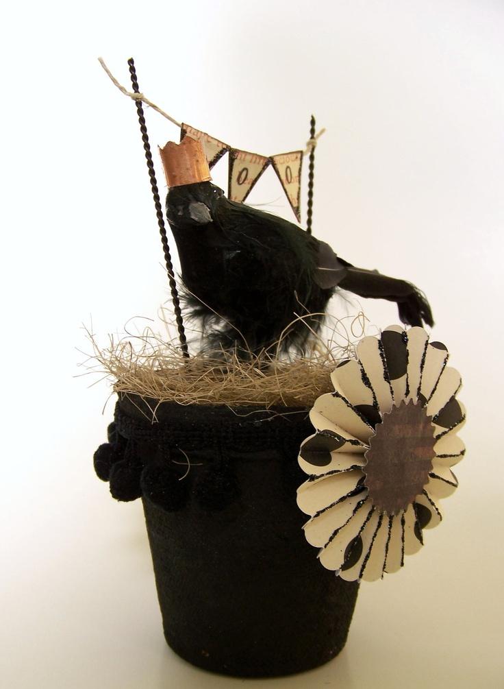 handmade halloween vintage halloween decoration vintage crow halloween crow vintage inspired mixed media 1800 - Halloween Crow Decorations