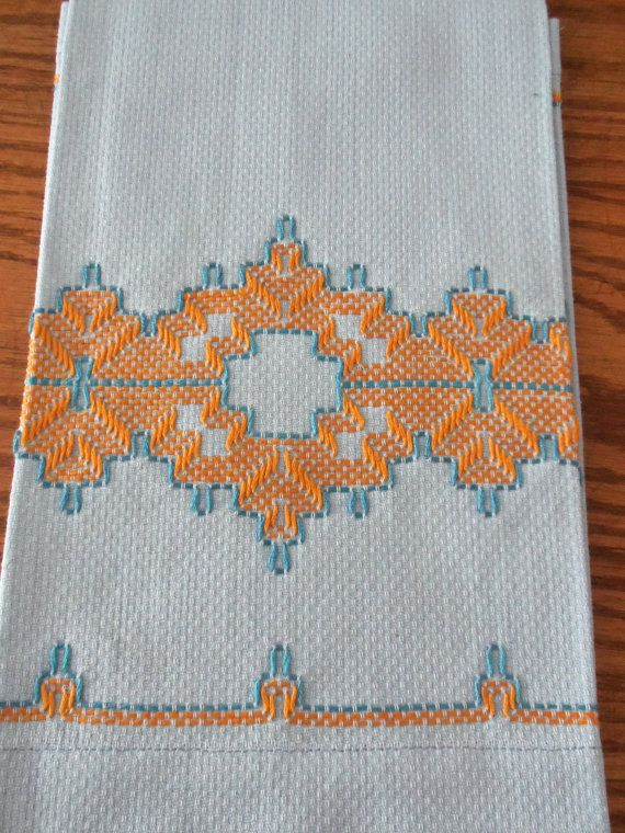 2 Vintage Swedish Huck Weaving Hand Towels, Turquoise and Orange on Sky Blue Huck Toweling