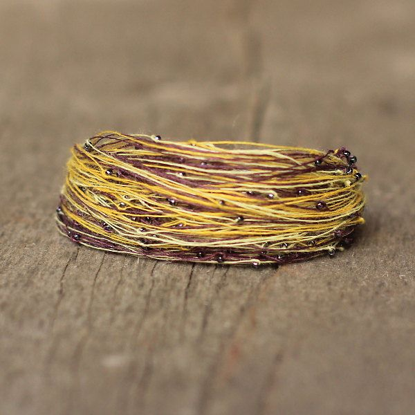 Plum Brown Yellow Bracelet for Women, Beaded Braclets, Colorful Wide Cuff Bracelet, Shining Beads Bracelet, Ready to Ship Gift for Her by Naryajewelry on Etsy
