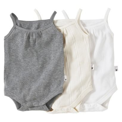 Burts Bees Baby™ Infant Girls' 3 Pack Tank Top Set - Ivory/Grey/White 12mo