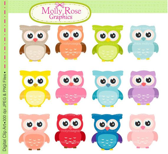 owls clip art , Digital Clip Art owls, Personal and Small Commercial Use, Invitations, Card Making, Scrapbooking  M.17 INSTANT DOWNLOAD