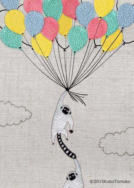 #KuboTomoko #Crafts #刺しゅう #刺繍 #embroidery #handmade #ハンドメイド #illustration #イラストレーション #猿 #monkey #風船 #baiioon #クラフト