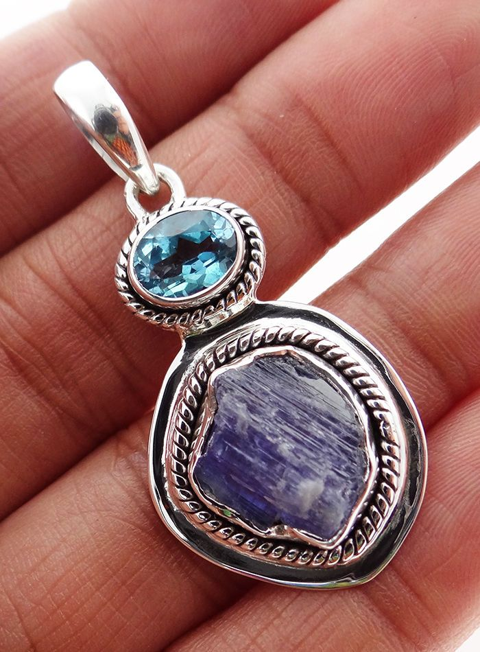 Natural Tanzanite Rough 925 Solid Sterling silver Pendant Jewelry TP-26 #Rananjay #HandmadePendant