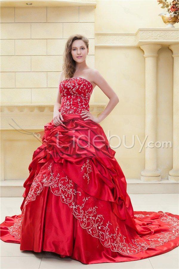 Fabulous Ball Gown Sweetheart Sleeveless Embroidery Ela's Color Wedding Dress