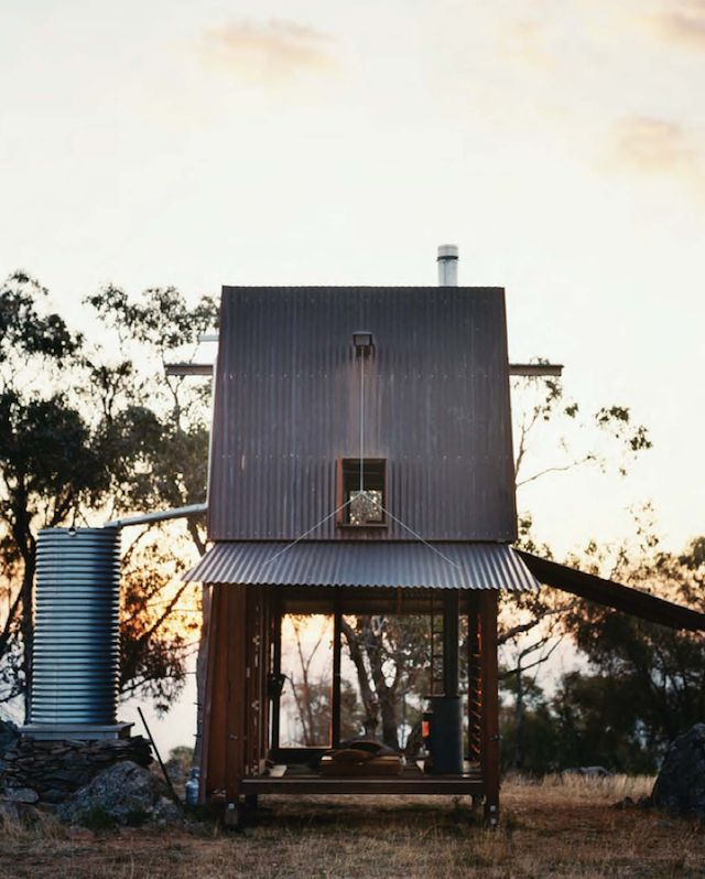 Situated on a mountaintop on a remote 800-hectare Australian sheep station in Mudgee, New south wales, lays this weather-beaten copper shack; a permanent campsite blending in to the Australian bush land owned by one lucky Sydney-based graphic designer.