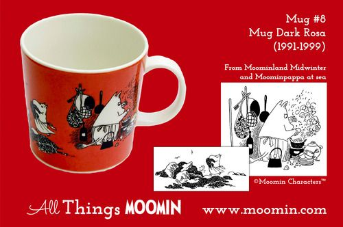 Moomin mug # 8 by Arabia Mug #8 - Dark Rosa Produced: 1991-1999  Illustrated by Tove Jansson / Camilla Moberg and manufactured by Arabia. The original illustrations can be found in Moominland Midwinter and in Moominpappa at sea.