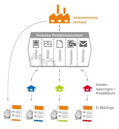 Infografik Globales Redaktionssystem für den Newsletter-Versand mit mailingwork