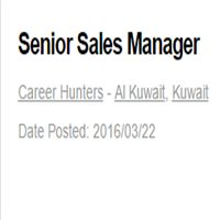 Senior Sales Manager- Job Opening @ KuwaitManage the sales teamSubmits weekly