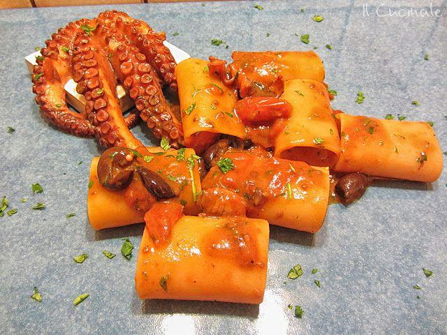 Paccheri di Gragnano con sugo di polpo affogato e olive di Gaeta