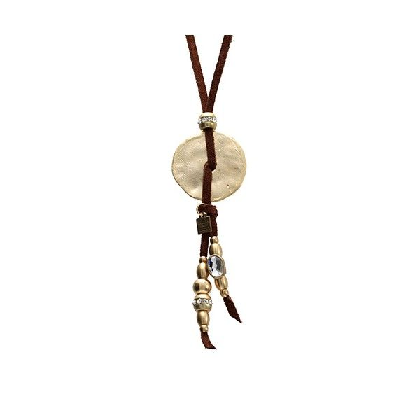Azteca Dorado Marrón | Collar largo de ante con medalla de metal dorada y abalorios de metal con cristales colgando de MAR BCN