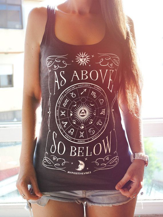 """♦ Zodiac Tank top - Yoga Tank Top ~ New!!! ✌  ♦ Astrology is one of the most ancient sciences, if not the first one – """"the mother of all sciences"""".  As above so below is one of the hermetic axioms, which is related to Astrology, suggesting that everything that happens here on earth – below – has its causes in the stars and planets – above. It is also related with other axiom – as within so without – and the application of the concepts of the macrocosms and microcosms.  Wear our zodiac yoga…"""