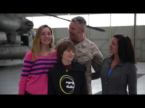Lt. Col. Jacob M. Matt, Marine Heavy Helicopter Squadron (HMH) 462 commanding officer, surprises his son and daughter at hangar 4 aboard Marine Corps Air Station Miramar, Calif., March 1. Matt arrived back in the states from a deployment with HMH-462 and surprised his kids with his arrival with the help of his wife.