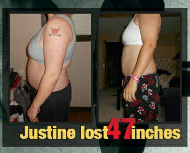 Let's get inspired & motivated on a Monday! Justine lost over 47 inches and loves life! Note: right image is flipped