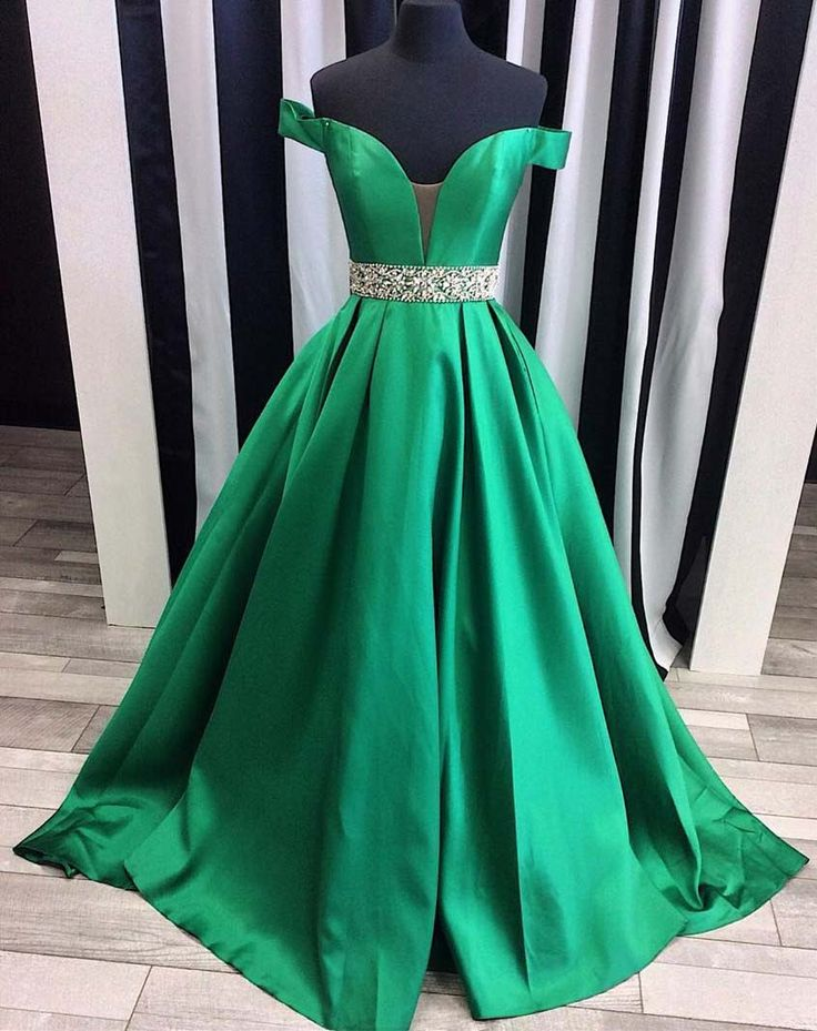 2017 Prom Dresses, Green Prom Dress, Long Prom Dresses, Prom Dress with Beadings, Satin Prom Dresses Long, Off The Shoulder Prom Dress, Pageant Gowns, Formal Dresses, Sexy Prom Dress, Custom Made