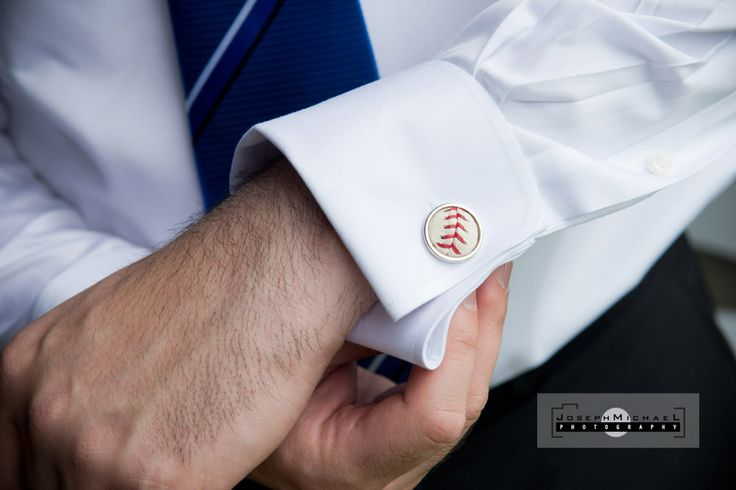 Baseball Themed Wedding Blue Jays, baseball cufflinks, baseball groomsmen