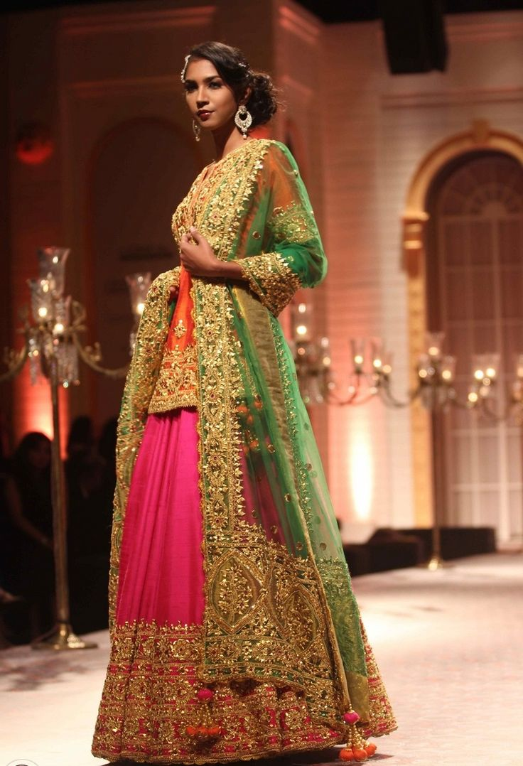 Heavy Golden Embroidered Pink And Green Lehengacholi
