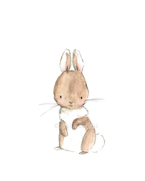 Children's Art  BUNNY  Archival Print by trafalgarssquare on Etsy, $10.00