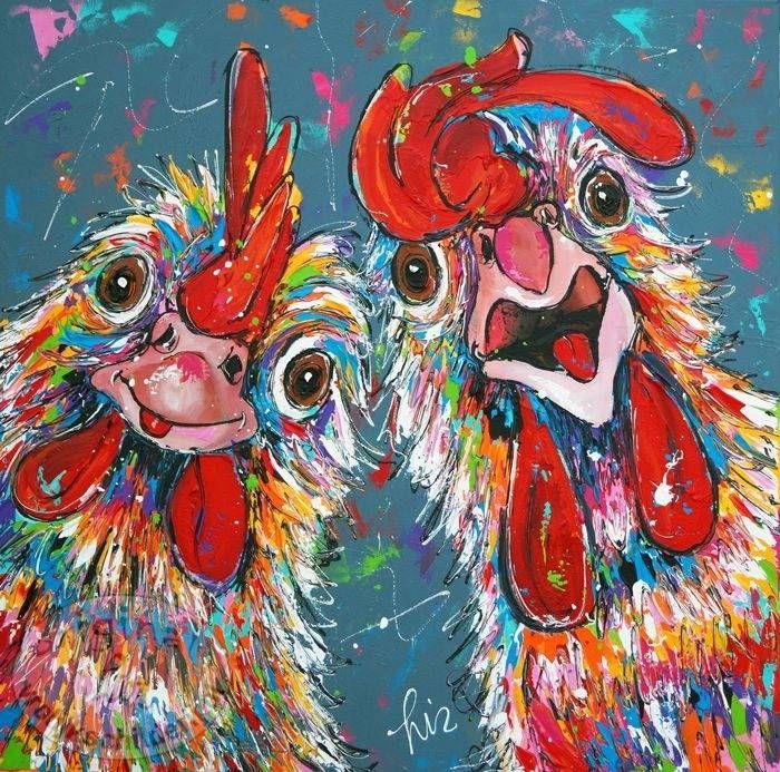 """Schilderij """" Crazy Chickens """" 100 x 100 (VERKOCHT)                                                                                                                                                     More"""