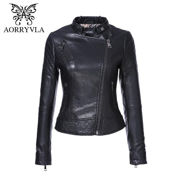 2ae88552444 AORRYVLA Brand Faux Leather Jacket For Women Spring 2018 Slim Biker  Motorcycle Full Sleeve Zipper Short Length Women s Clothing