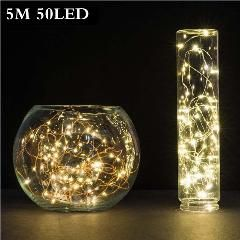 [ 43% OFF ] 5M 50 Led 3Aa Battery Powered Outdoor Led Copper Wire String Lights For Christmas Festival Wedding Party Decoration