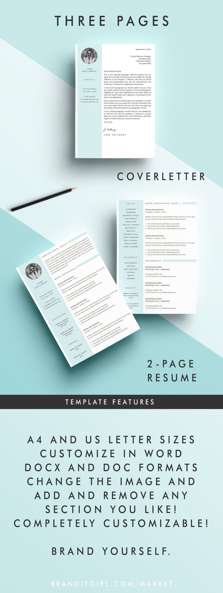 Ats Resume Template%0A Brand yourself with this feminine pretty resume template  Click through and  download it today