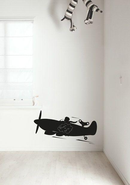 Muursticker Toys For Boys Airplane M, Vliegtuig voor kinderkamer, 98 x 40 cm