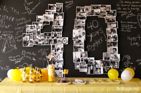 Chalkboard with photos of party guest(s) of honor in shape of birthday age or anniversary years together.  Have chalk for guest messages.  *Remember to take a photo of all the messages before erasing & cleaning up.