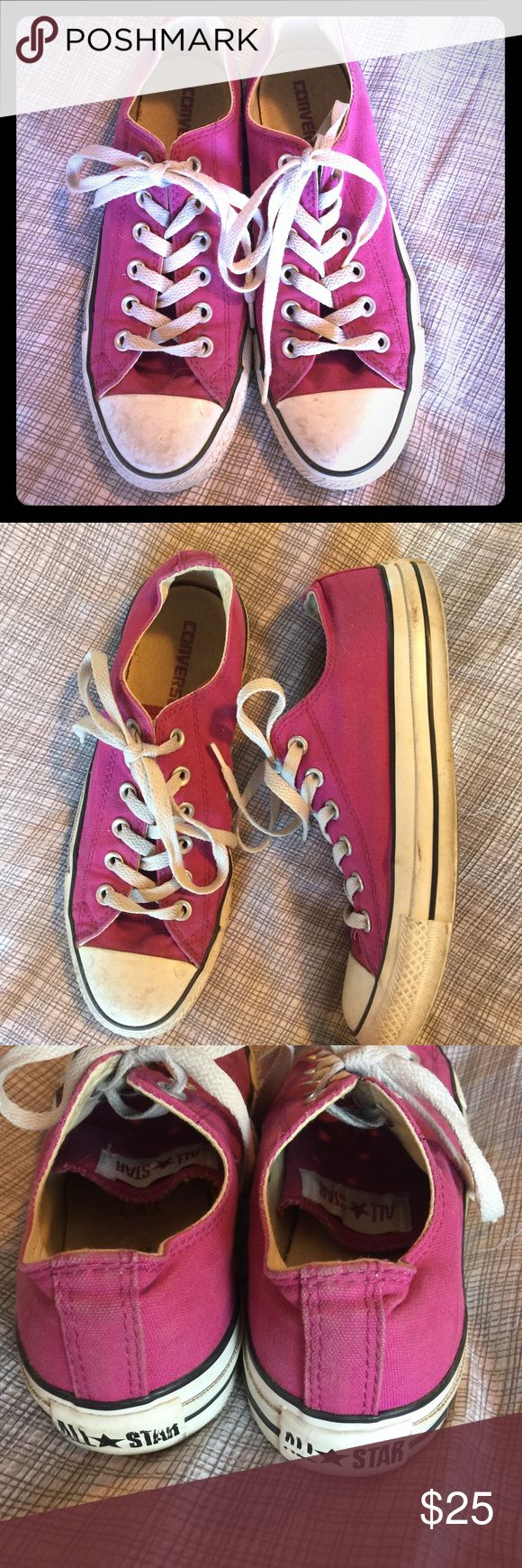 Converse Chuck Taylors purple/fuschia 8.5 These Chucks have been preloved but have a ton of life left in them! Classic Converse Chuck Taylor in fuschia size 8.5. Fits TTS. Converse Shoes Sneakers