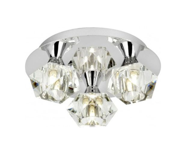 This 3 light plate ceiling fitting in chrome with clear glass shades the arietta range