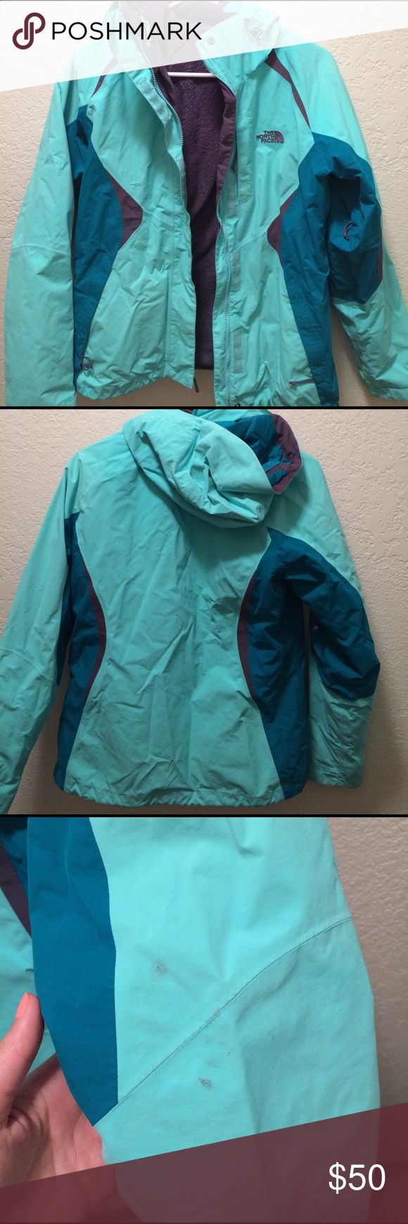 The North Face Small 2 in 1 Winter Coat Size small winter coat from The North Face in great condition! Only worn for 1 year. Has 2 parts - a fleece inside and outer shell. One pocket zipper is broke. Only a couple small stains as shown in picture. Will sell the inside only which is like new for $40. The North Face Jackets & Coats