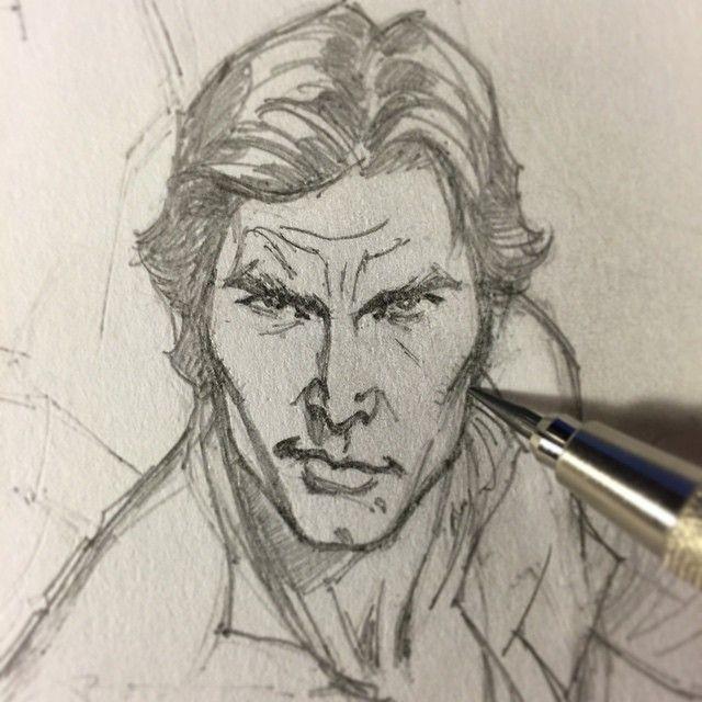✏️ Working late tonight on this scruffy-lookin' nerf herder. #scruffylookingnerfherder #rebel #smuggler #hansolo #starwars #marvel #harrisonford #drawing #penciling #sketching #draw #sketch #pencil #art #jscottcampbell #comics #comicbook #comicbooks #70sjohnfogertysideburns #1977 @starwars