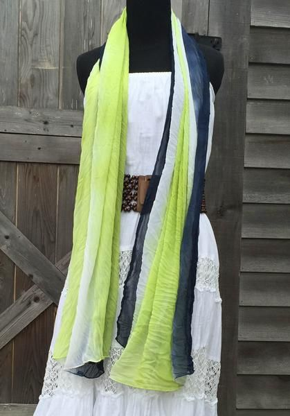 Handmade crinkle chiffon tie-dye scarf in the beautiful colors of the Seattle Sea Hawks. Wear as a group to show team spirit. Or gift it to that special fan.